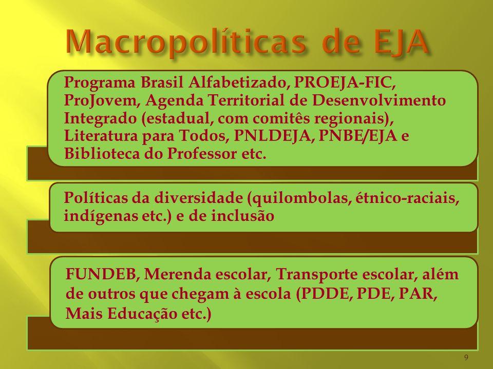 Programa Brasil Alfabetizado, PROEJA-FIC, ProJovem, Agenda Territorial de Desenvolvimento Integrado (estadual, com comitês regionais), Literatura para
