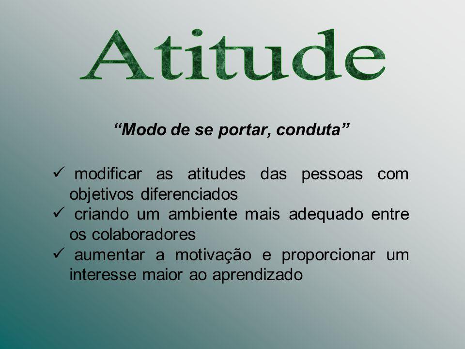 Modo de se portar, conduta modificar as atitudes das pessoas com objetivos diferenciados criando um ambiente mais adequado entre os colaboradores aume