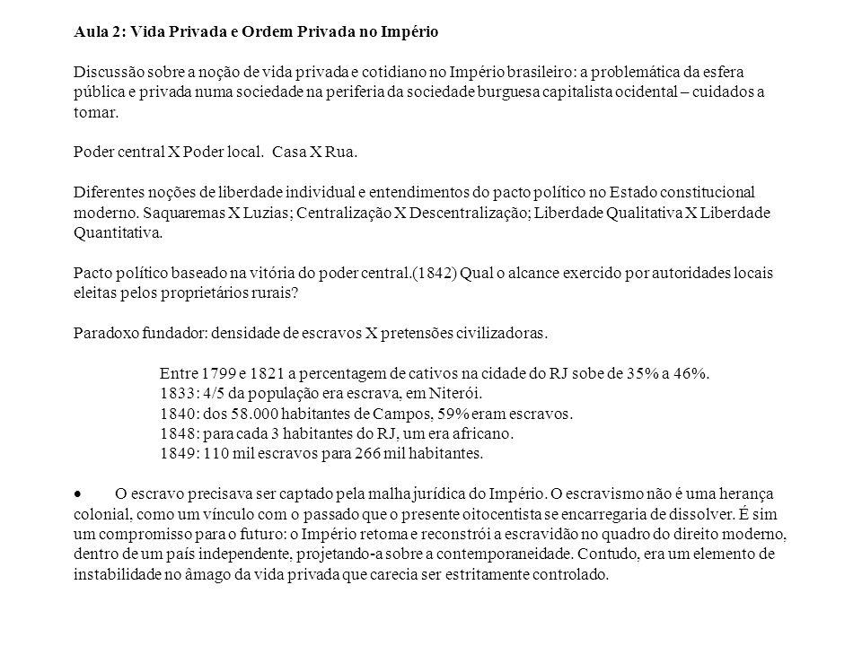 Aula 2: Vida Privada e Ordem Privada no Império Discussão sobre a noção de vida privada e cotidiano no Império brasileiro: a problemática da esfera pú