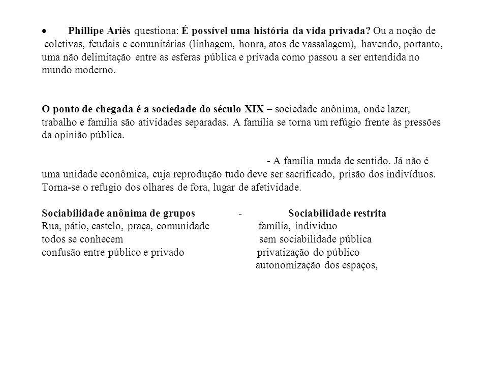 Phillipe Ariès questiona: É possível uma história da vida privada? Ou a noção de coletivas, feudais e comunitárias (linhagem, honra, atos de vassalage