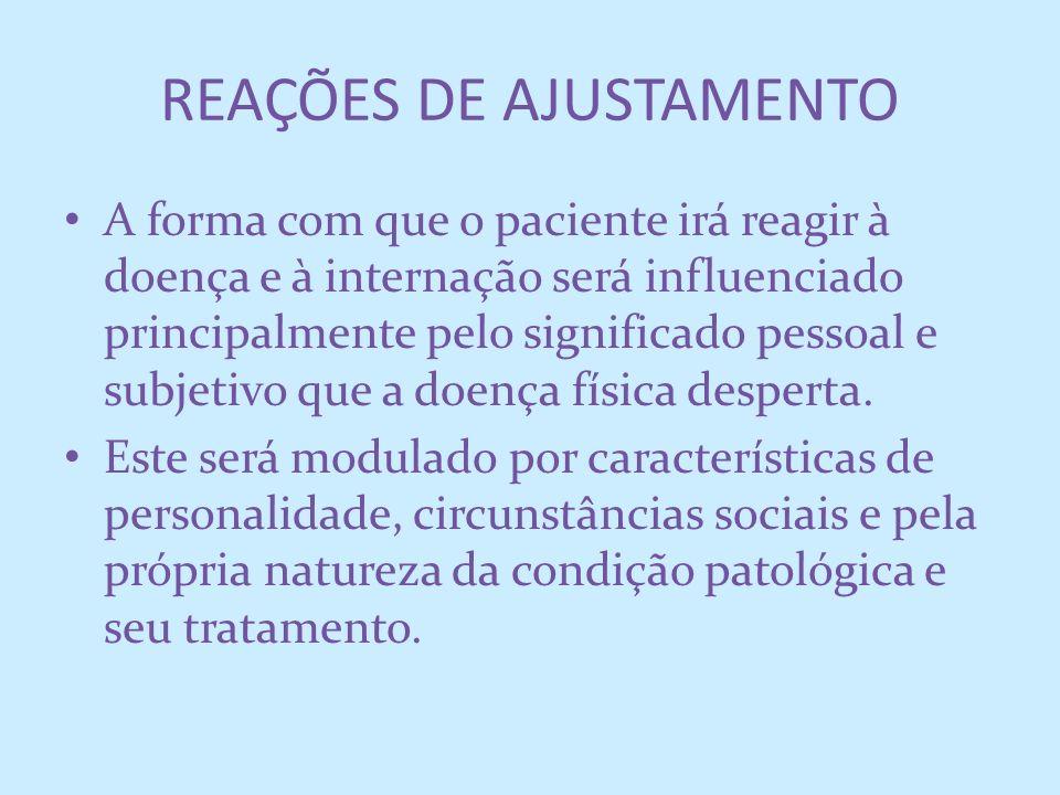 A forma com que o paciente irá reagir à doença e à internação será influenciado principalmente pelo significado pessoal e subjetivo que a doença físic