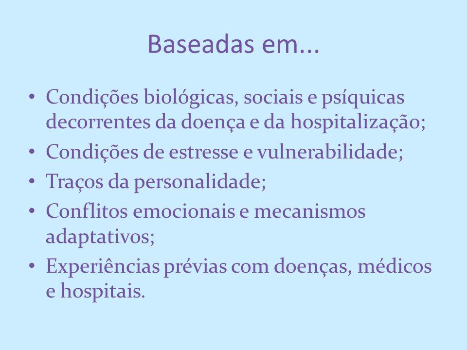 Baseadas em... Condições biológicas, sociais e psíquicas decorrentes da doença e da hospitalização; Condições de estresse e vulnerabilidade; Traços da