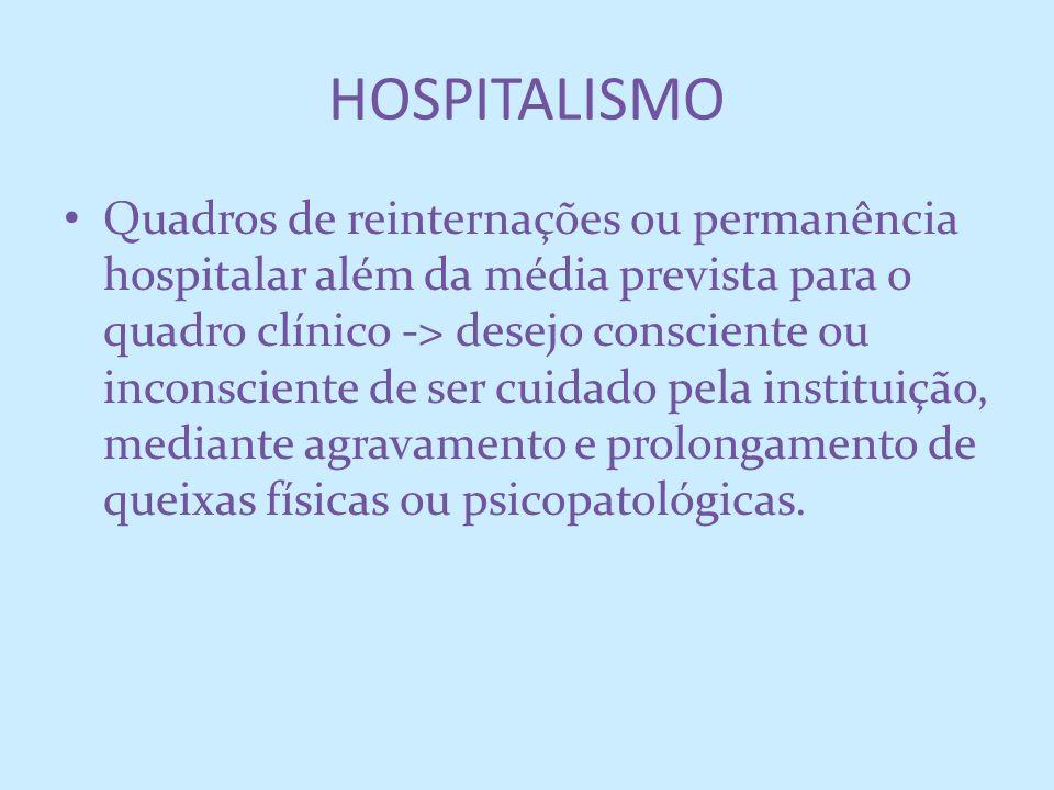 HOSPITALISMO Quadros de reinternações ou permanência hospitalar além da média prevista para o quadro clínico -> desejo consciente ou inconsciente de s