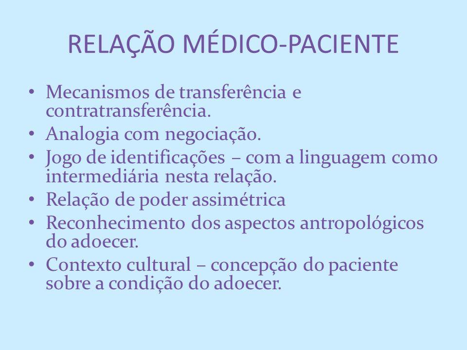 RELAÇÃO MÉDICO-PACIENTE Mecanismos de transferência e contratransferência. Analogia com negociação. Jogo de identificações – com a linguagem como inte