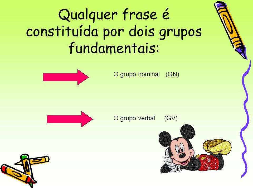 Qualquer frase é constituída por dois grupos fundamentais: O grupo nominal (GN) O grupo verbal (GV)