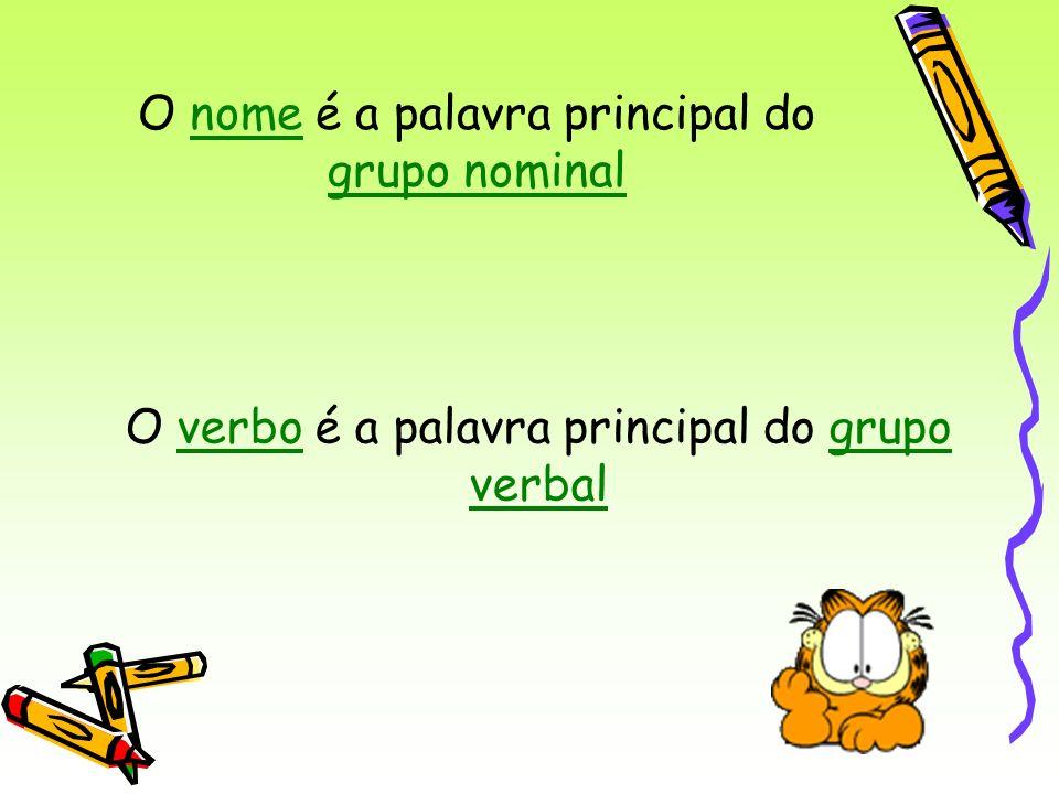 O nome é a palavra principal do grupo nominal O verbo é a palavra principal do grupo verbal