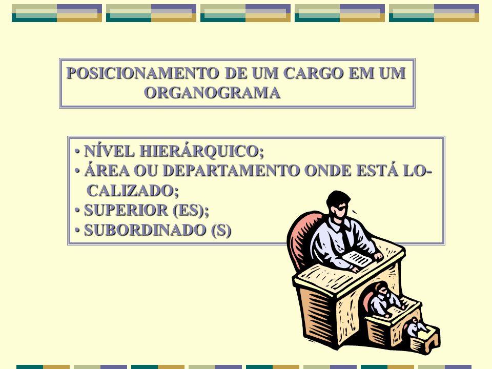 POSICIONAMENTO DE UM CARGO EM UM ORGANOGRAMA ORGANOGRAMA NÍVEL HIERÁRQUICO; NÍVEL HIERÁRQUICO; ÁREA OU DEPARTAMENTO ONDE ESTÁ LO- ÁREA OU DEPARTAMENTO