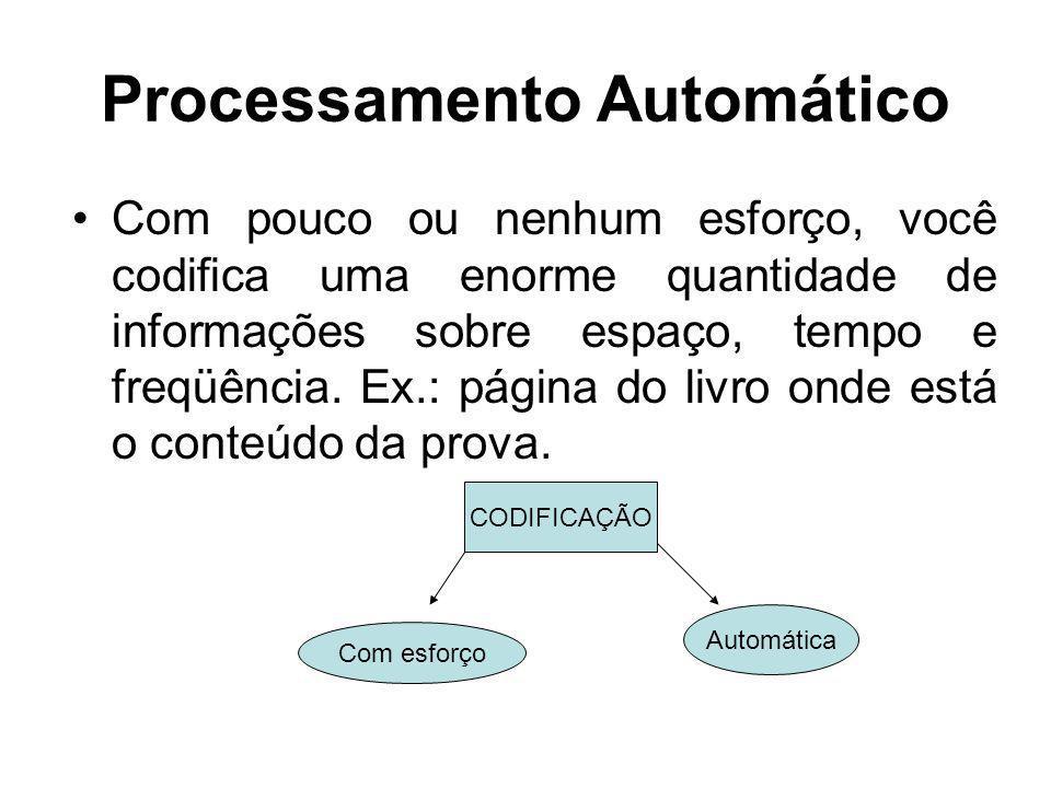 Processamento Automático Com pouco ou nenhum esforço, você codifica uma enorme quantidade de informações sobre espaço, tempo e freqüência. Ex.: página
