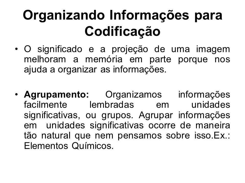 Organizando Informações para Codificação O significado e a projeção de uma imagem melhoram a memória em parte porque nos ajuda a organizar as informaç