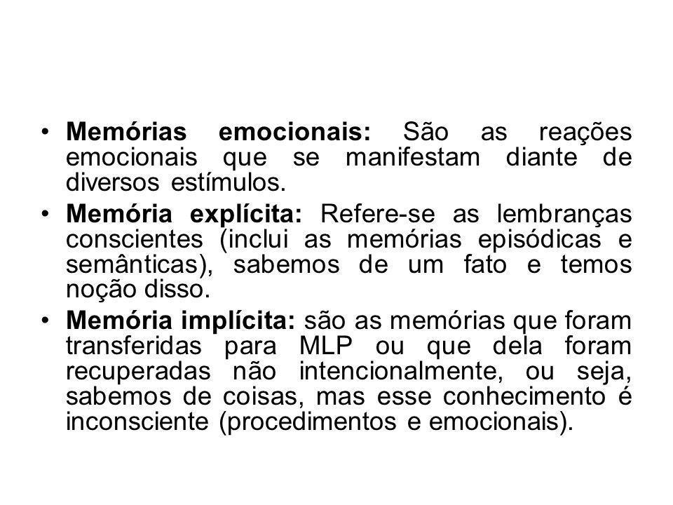 Memórias emocionais: São as reações emocionais que se manifestam diante de diversos estímulos. Memória explícita: Refere-se as lembranças conscientes
