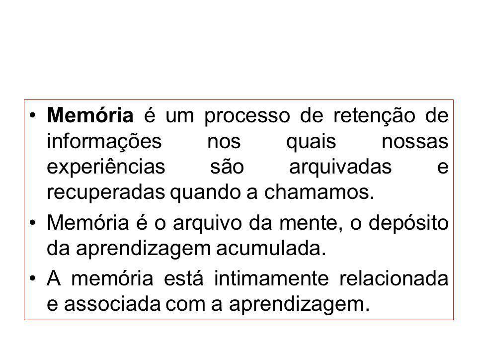 Memória é um processo de retenção de informações nos quais nossas experiências são arquivadas e recuperadas quando a chamamos. Memória é o arquivo da