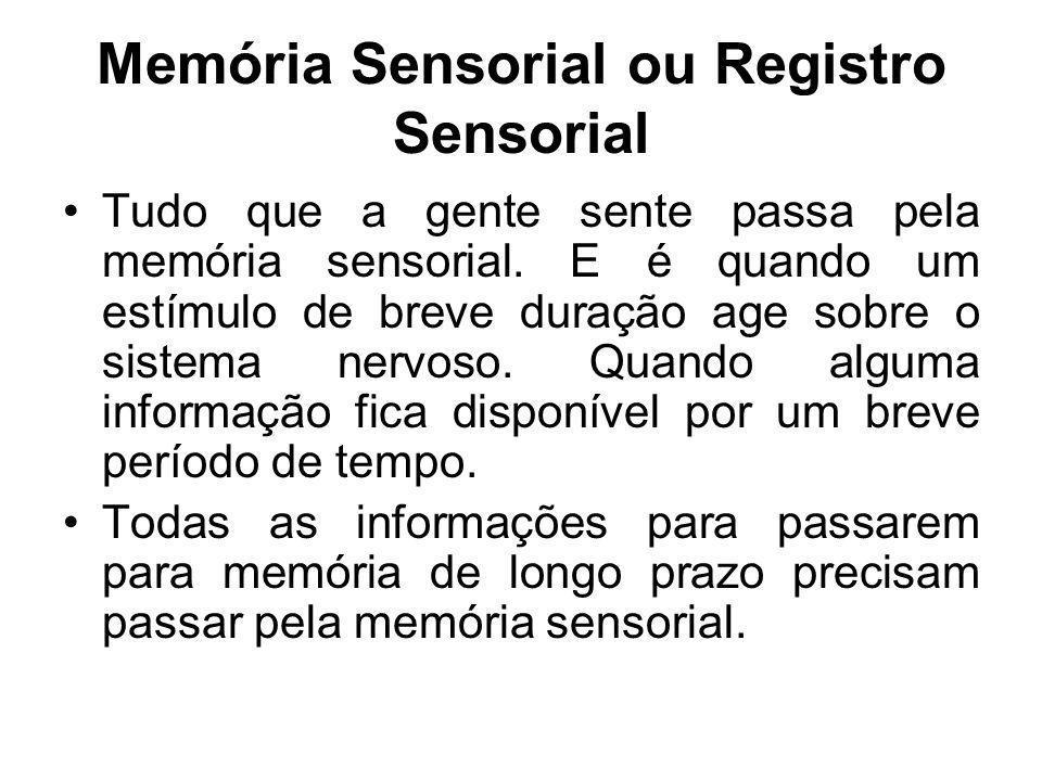 Memória Sensorial ou Registro Sensorial Tudo que a gente sente passa pela memória sensorial. E é quando um estímulo de breve duração age sobre o siste