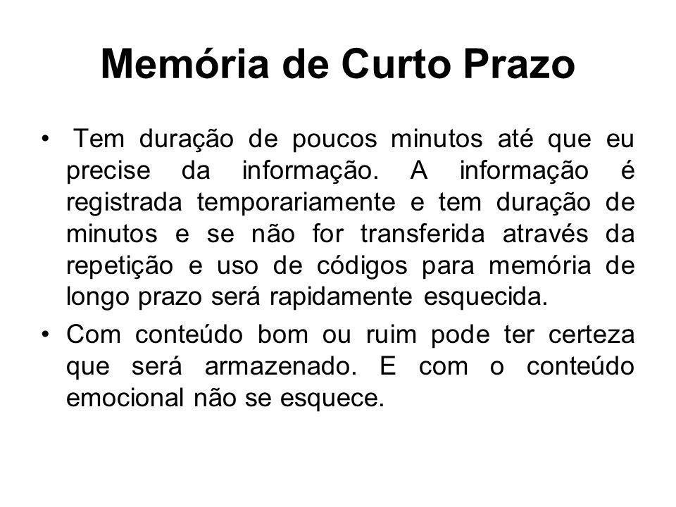Memória de Longo Prazo A memória de longo prazo é capaz de armazenar uma vasta quantidade de informações por muitos anos.