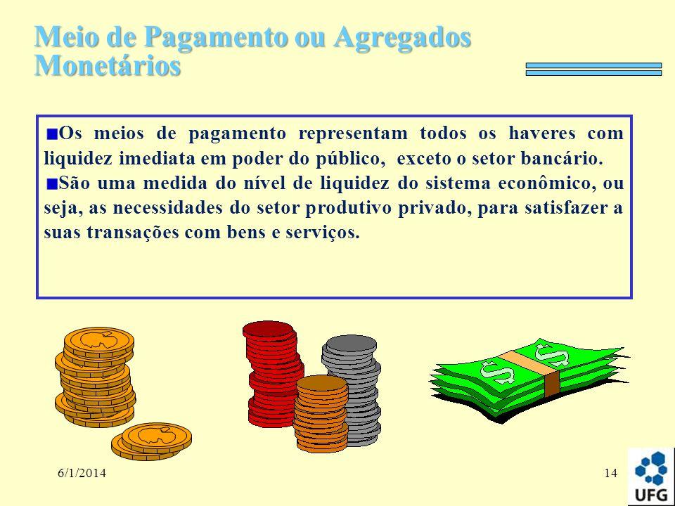 6/1/201414 Meio de Pagamento ou Agregados Monetários Os meios de pagamento representam todos os haveres com liquidez imediata em poder do público, exc