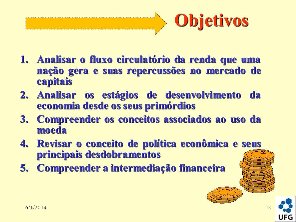 6/1/20142 Objetivos 1.Analisar o fluxo circulatório da renda que uma nação gera e suas repercussões no mercado de capitais 2.Analisar os estágios de d