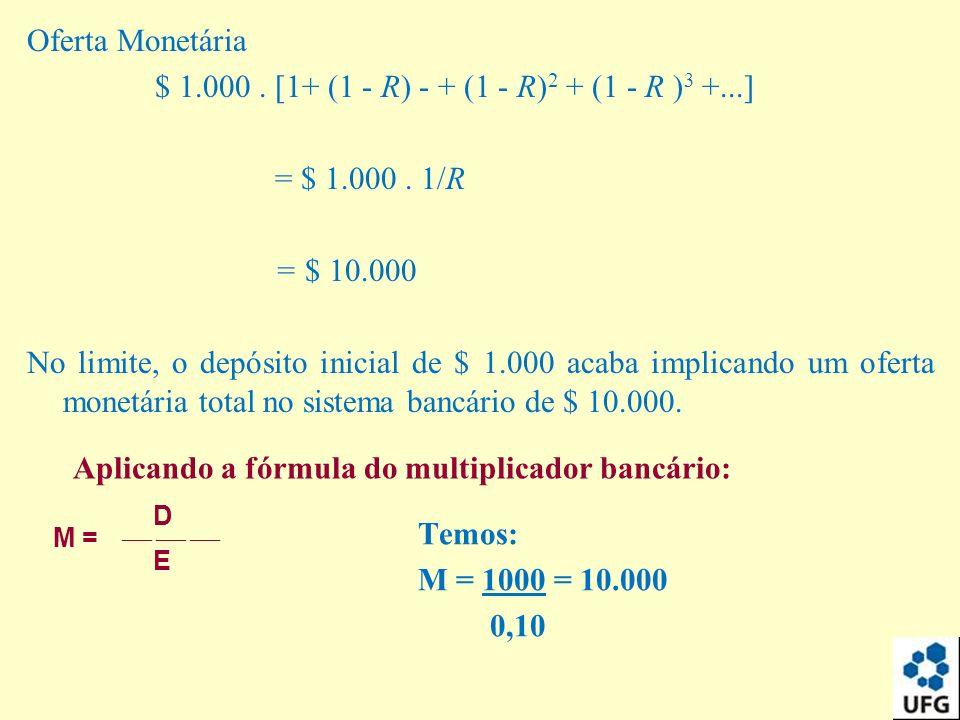 Oferta Monetária $ 1.000. [1+ (1 - R) - + (1 - R) 2 + (1 - R ) 3 +...] = $ 1.000. 1/R = $ 10.000 No limite, o depósito inicial de $ 1.000 acaba implic