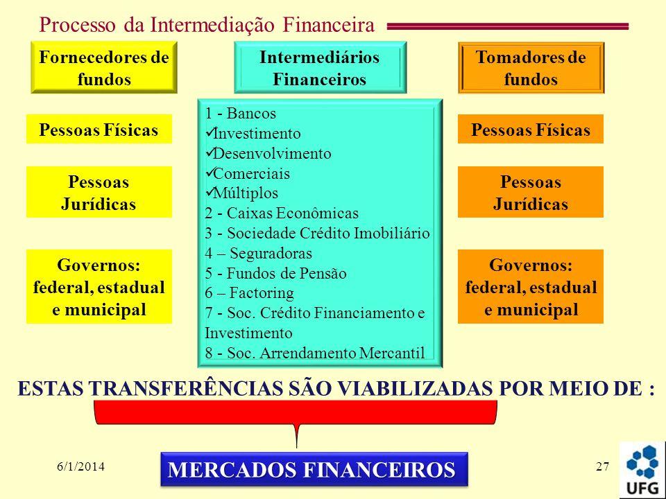 Processo da Intermediação Financeira 6/1/201427 Fornecedores de fundos Tomadores de fundos Governos: federal, estadual e municipal Pessoas Físicas Pes