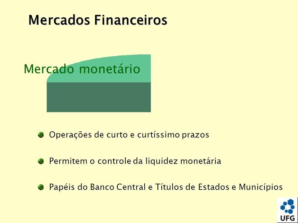Mercado monetário Operações de curto e curtíssimo prazos Permitem o controle da liquidez monetária Papéis do Banco Central e Títulos de Estados e Muni