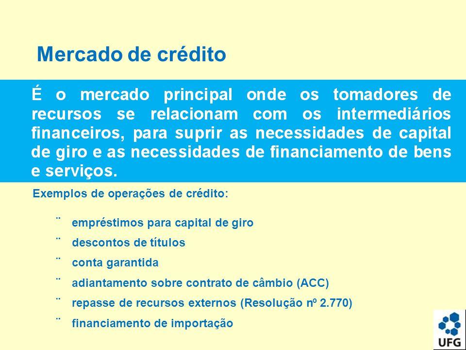 Mercado de crédito Exemplos deoperações de crédito: empréstimos para capital de giro descontos de títulos conta garantida adiantamento sobre contrato