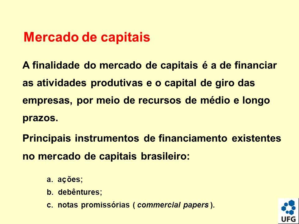 Mercado de capitais A finalidade do mercado de capitais é a de financiar as atividades produtivas e o capital de giro das empresas, por meio de recurs