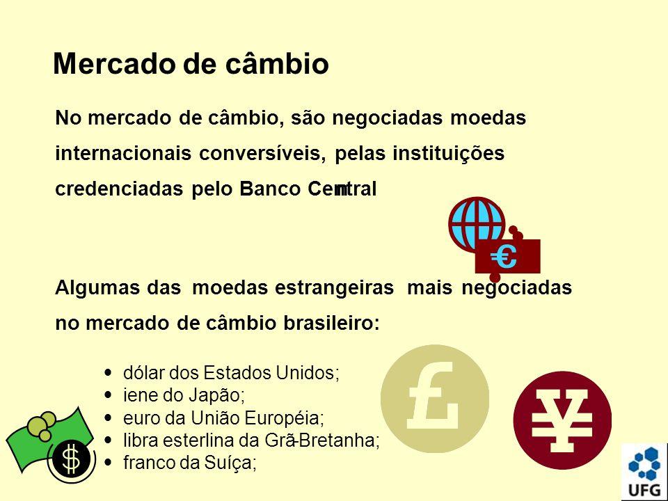 Mercado de câmbio No mercado de câmbio, são negociadas moedas internacionais conversíveis, pelas instituições credenciadas pelo Banco Centraln Algumas