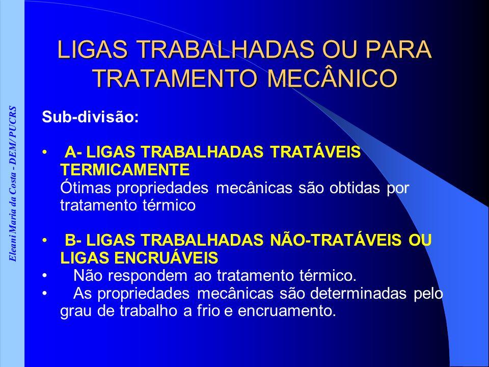 Eleani Maria da Costa - DEM/ PUCRS LIGAS TRABALHADAS OU PARA TRATAMENTO MECÂNICO Sub-divisão: A- LIGAS TRABALHADAS TRATÁVEIS TERMICAMENTE Ótimas propr
