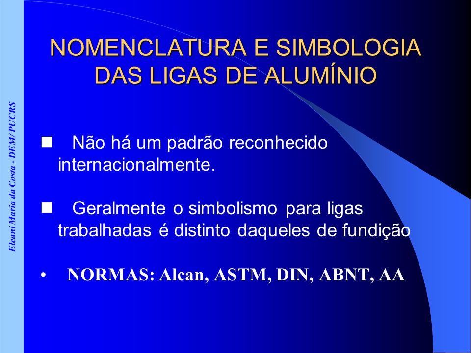 Eleani Maria da Costa - DEM/ PUCRS NOMENCLATURA E SIMBOLOGIA DAS LIGAS DE ALUMÍNIO Não há um padrão reconhecido internacionalmente. Geralmente o simbo