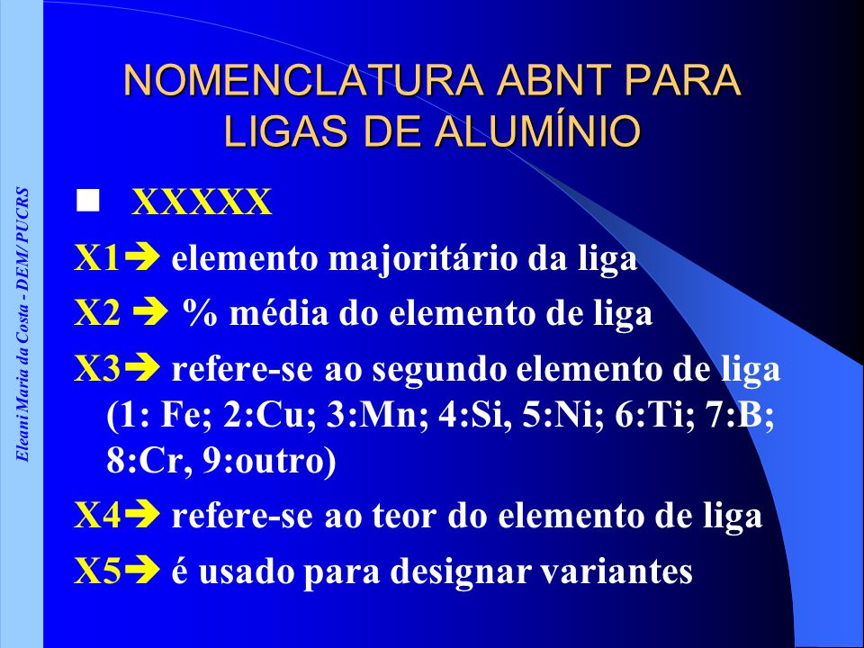 Eleani Maria da Costa - DEM/ PUCRS NOMENCLATURA ABNT PARA LIGAS DE ALUMÍNIO XXXXX X1 elemento majoritário da liga X2 % média do elemento de liga X3 re