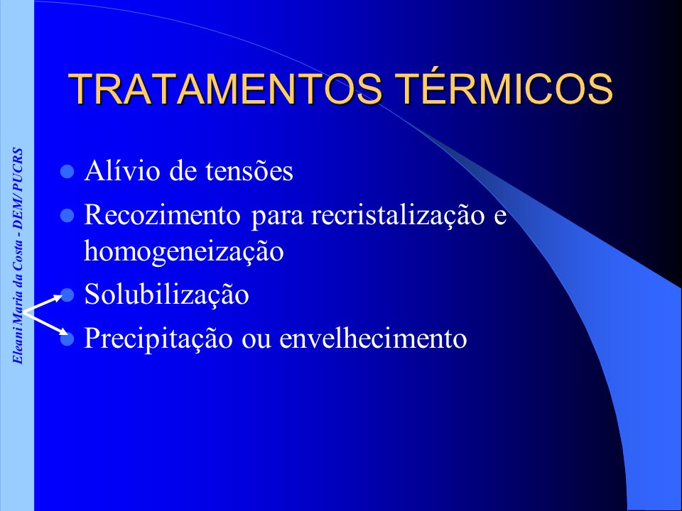 Eleani Maria da Costa - DEM/ PUCRS TRATAMENTOS TÉRMICOS Alívio de tensões Recozimento para recristalização e homogeneização Solubilização Precipitação