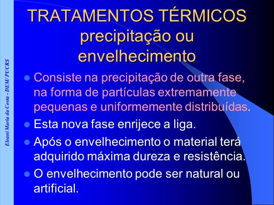 Eleani Maria da Costa - DEM/ PUCRS TRATAMENTOS TÉRMICOS precipitação ou envelhecimento Consiste na precipitação de outra fase, na forma de partículas