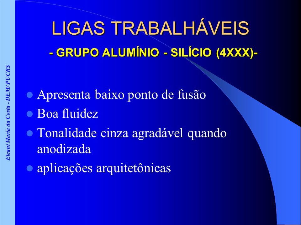 Eleani Maria da Costa - DEM/ PUCRS LIGAS TRABALHÁVEIS - GRUPO ALUMÍNIO - SILÍCIO (4XXX)- Apresenta baixo ponto de fusão Boa fluidez Tonalidade cinza a