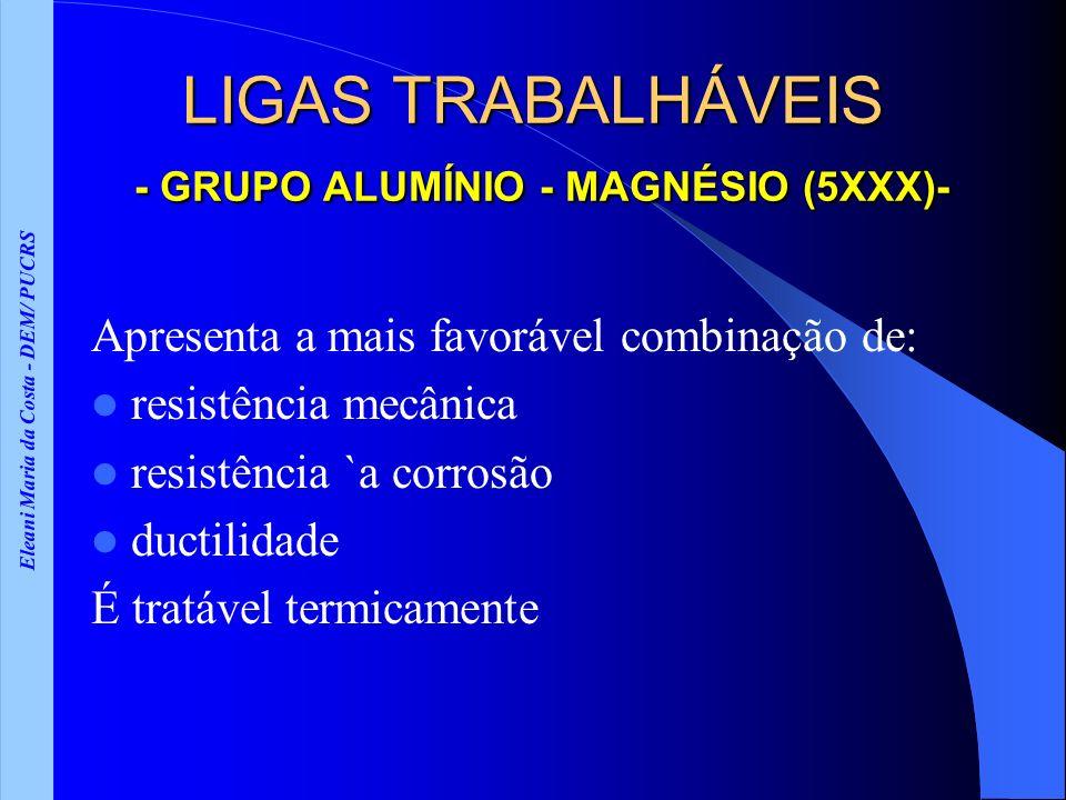 Eleani Maria da Costa - DEM/ PUCRS LIGAS TRABALHÁVEIS - GRUPO ALUMÍNIO - MAGNÉSIO (5XXX)- Apresenta a mais favorável combinação de: resistência mecâni