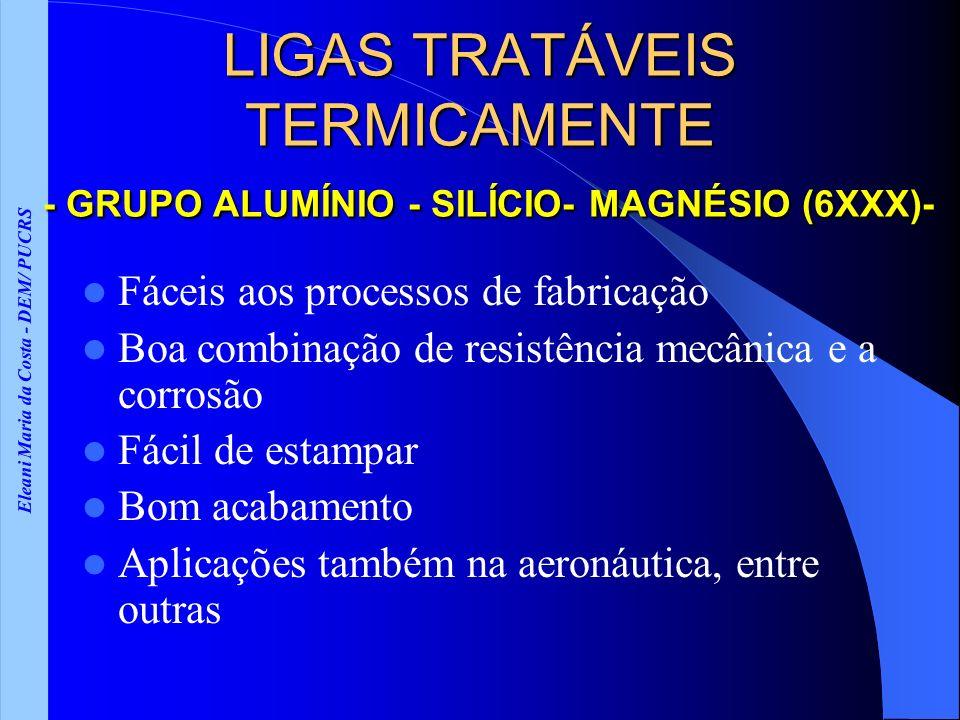 Eleani Maria da Costa - DEM/ PUCRS LIGAS TRATÁVEIS TERMICAMENTE - GRUPO ALUMÍNIO - SILÍCIO- MAGNÉSIO (6XXX)- Fáceis aos processos de fabricação Boa co