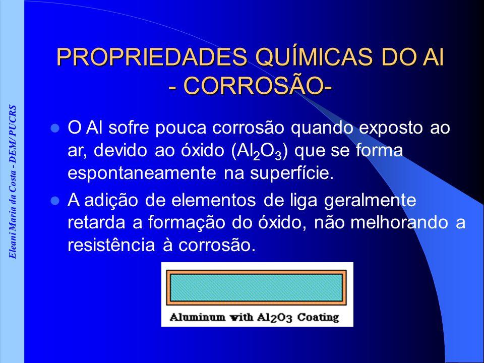 Eleani Maria da Costa - DEM/ PUCRS PROPRIEDADES QUÍMICAS DO Al - CORROSÃO- O Al sofre pouca corrosão quando exposto ao ar, devido ao óxido (Al 2 O 3 )