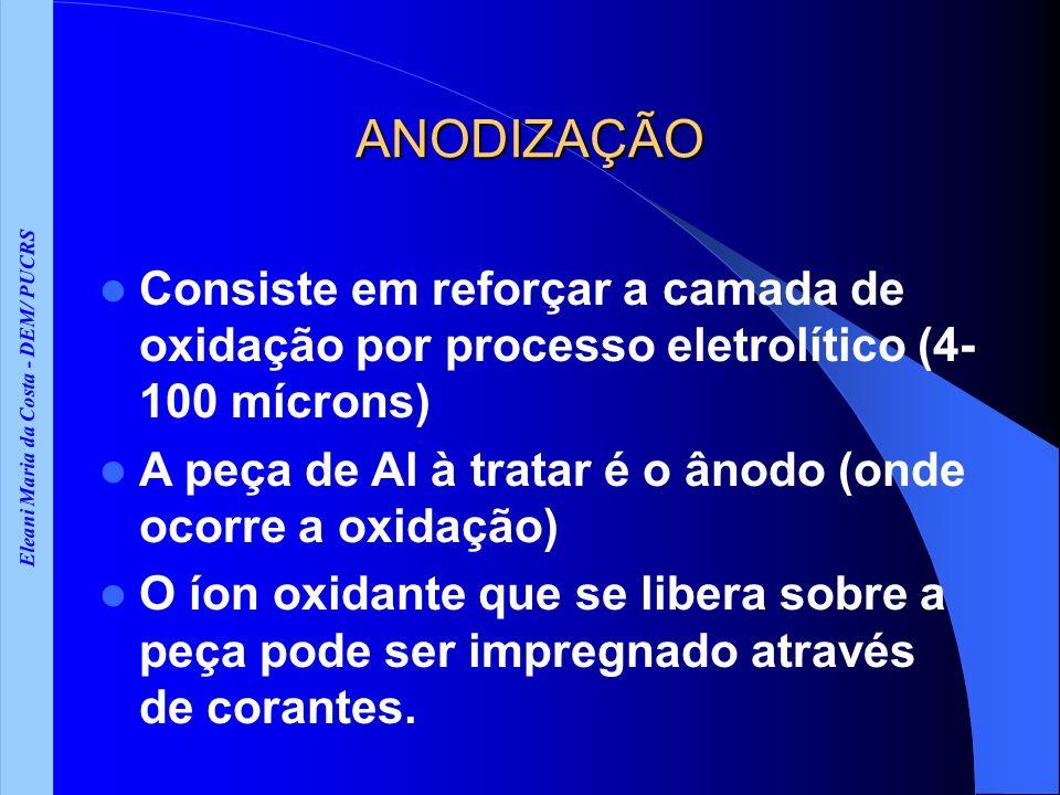 Eleani Maria da Costa - DEM/ PUCRS ANODIZAÇÃO Consiste em reforçar a camada de oxidação por processo eletrolítico (4- 100 mícrons) A peça de Al à trat