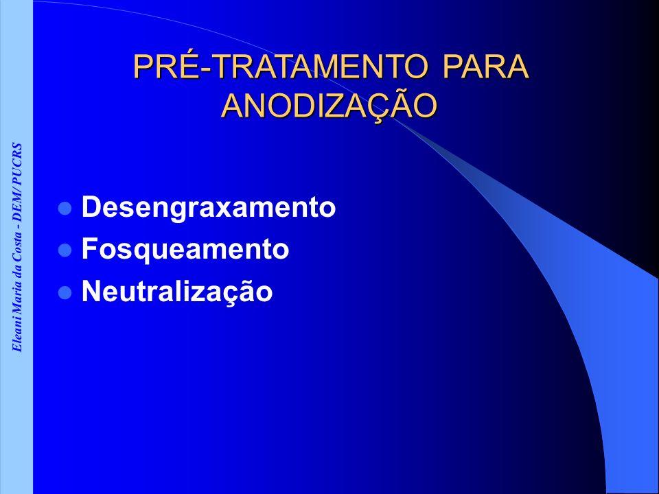 Eleani Maria da Costa - DEM/ PUCRS PRÉ-TRATAMENTO PARA ANODIZAÇÃO Desengraxamento Fosqueamento Neutralização