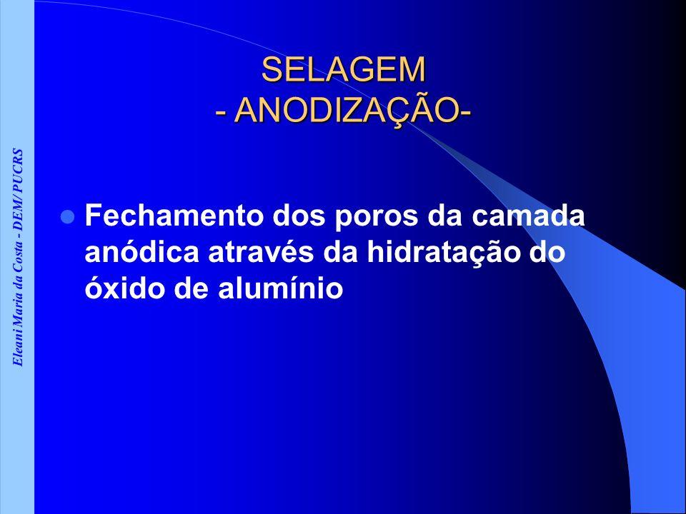 Eleani Maria da Costa - DEM/ PUCRS SELAGEM - ANODIZAÇÃO- Fechamento dos poros da camada anódica através da hidratação do óxido de alumínio