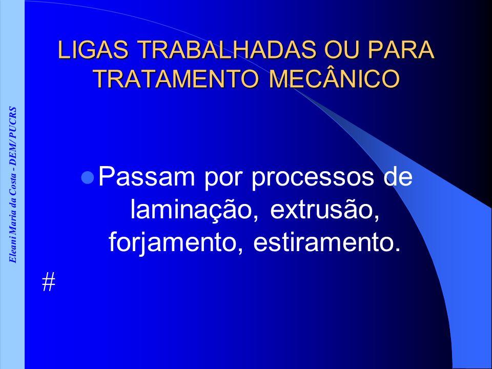 Eleani Maria da Costa - DEM/ PUCRS LIGAS TRABALHADAS OU PARA TRATAMENTO MECÂNICO Sub-divisão: A- LIGAS TRABALHADAS TRATÁVEIS TERMICAMENTE Ótimas propriedades mecânicas são obtidas por tratamento térmico B- LIGAS TRABALHADAS NÃO-TRATÁVEIS OU LIGAS ENCRUÁVEIS Não respondem ao tratamento térmico.