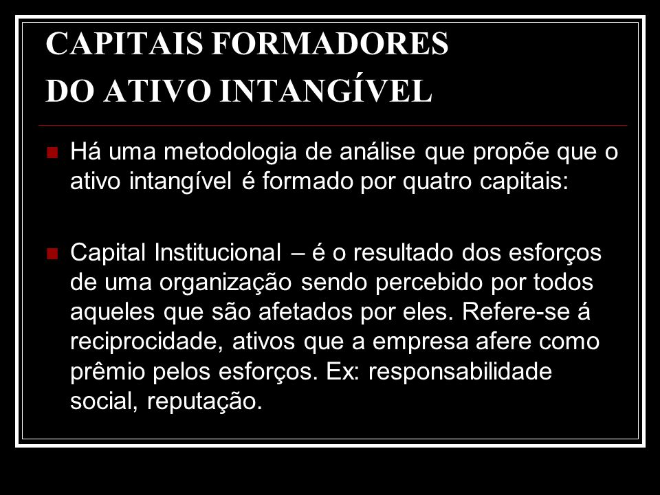 CAPITAIS FORMADORES DO ATIVO INTANGÍVEL Há uma metodologia de análise que propõe que o ativo intangível é formado por quatro capitais: Capital Institu