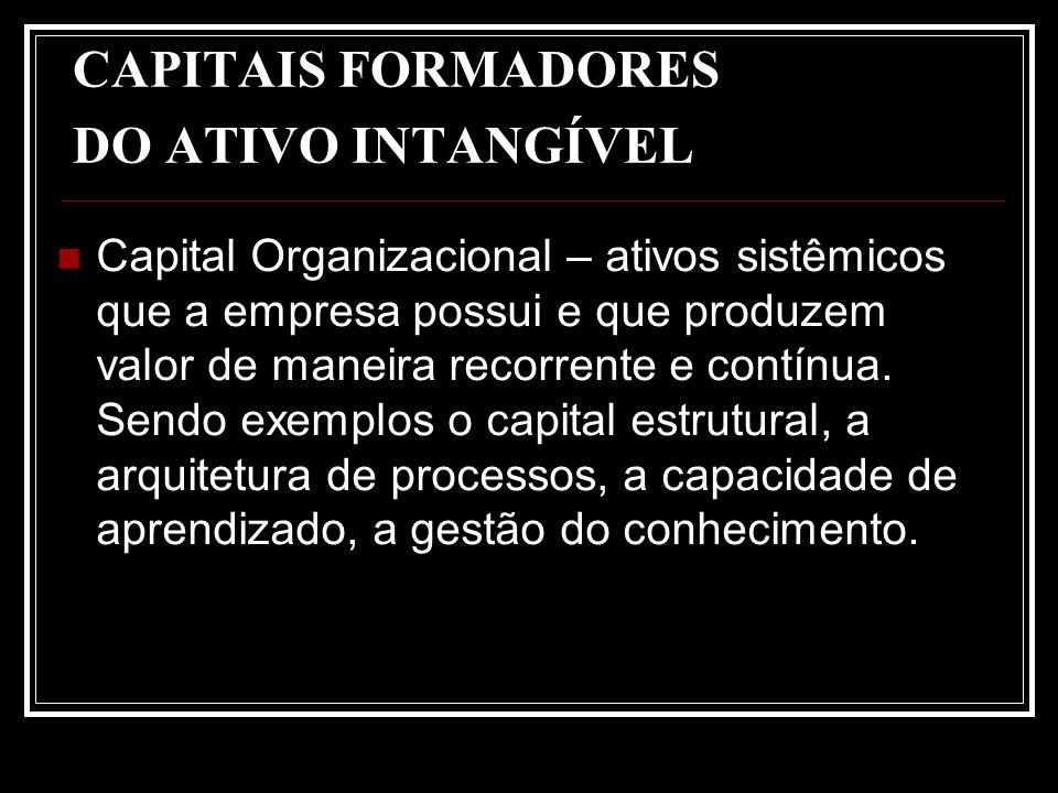 CAPITAIS FORMADORES DO ATIVO INTANGÍVEL Capital Organizacional – ativos sistêmicos que a empresa possui e que produzem valor de maneira recorrente e c
