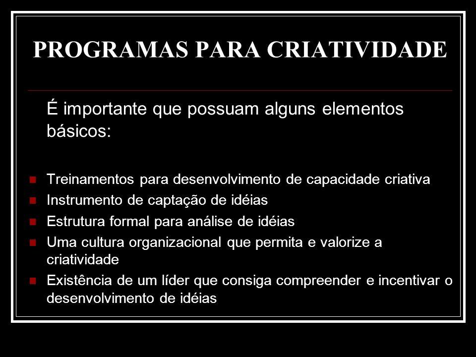 PROGRAMAS PARA CRIATIVIDADE É importante que possuam alguns elementos básicos: Treinamentos para desenvolvimento de capacidade criativa Instrumento de