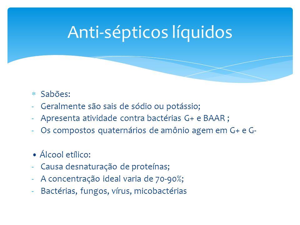 Sabões: -Geralmente são sais de sódio ou potássio; -Apresenta atividade contra bactérias G+ e BAAR ; -Os compostos quaternários de amônio agem em G+ e