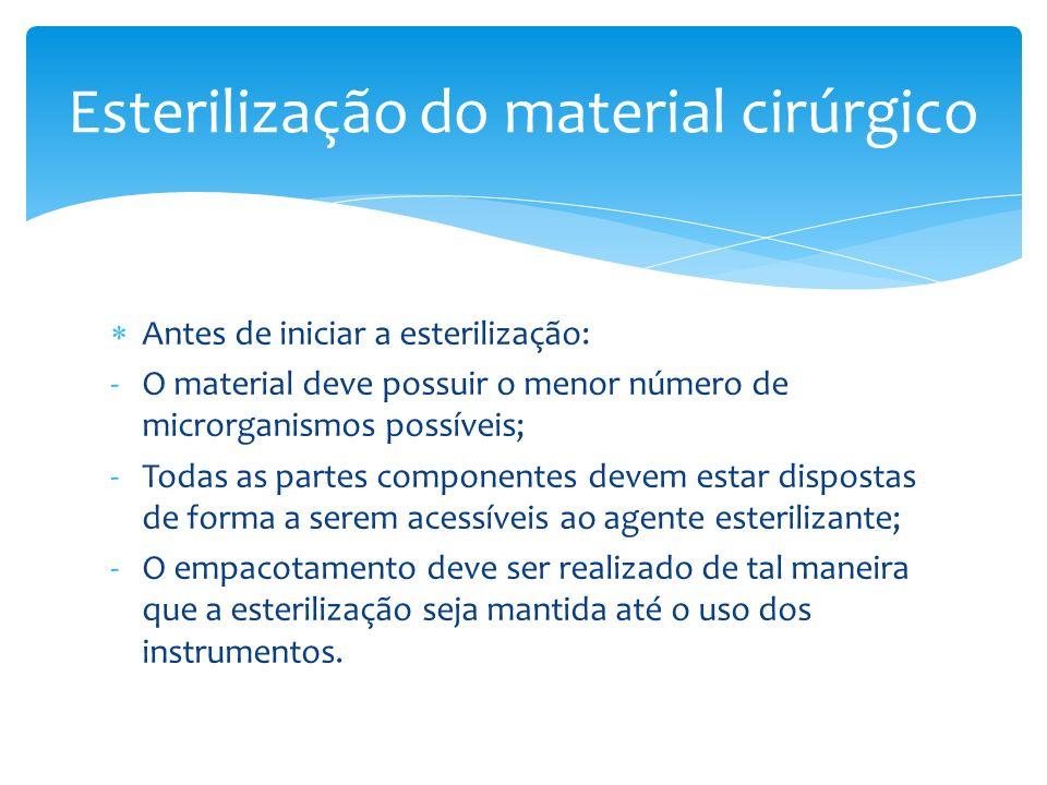 Antes de iniciar a esterilização: -O material deve possuir o menor número de microrganismos possíveis; -Todas as partes componentes devem estar dispos