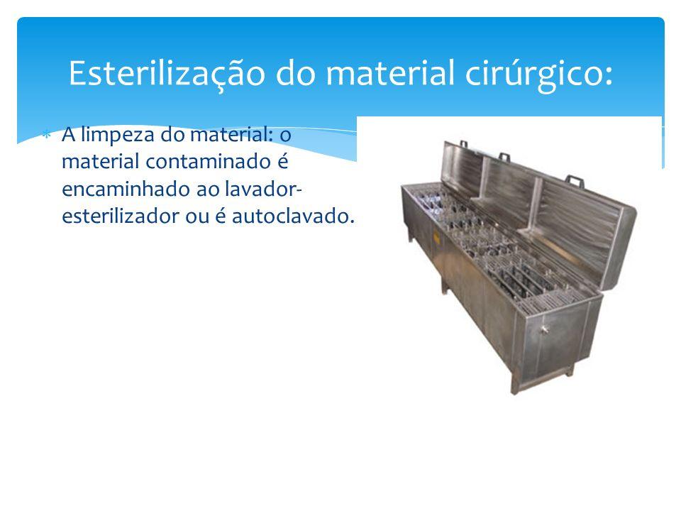 A limpeza do material: o material contaminado é encaminhado ao lavador- esterilizador ou é autoclavado. Esterilização do material cirúrgico: