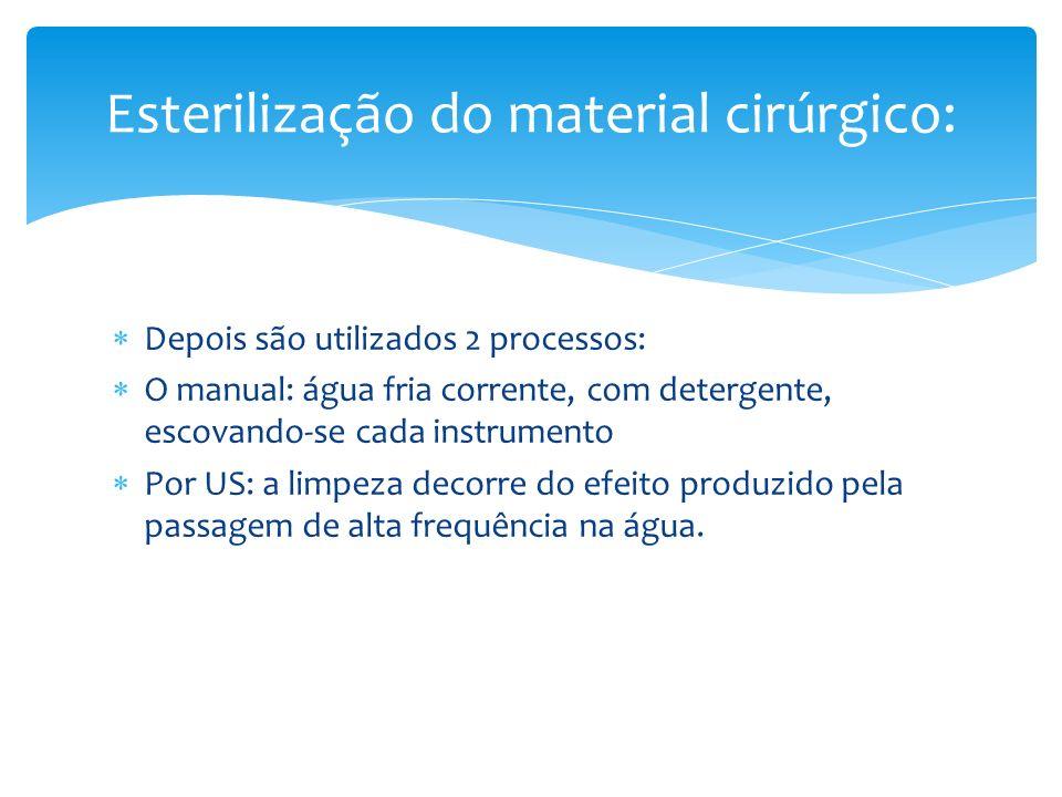 Depois são utilizados 2 processos: O manual: água fria corrente, com detergente, escovando-se cada instrumento Por US: a limpeza decorre do efeito pro