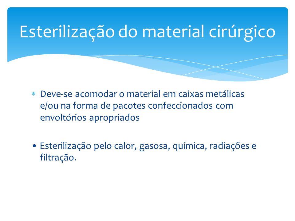 Deve-se acomodar o material em caixas metálicas e/ou na forma de pacotes confeccionados com envoltórios apropriados Esterilização pelo calor, gasosa,