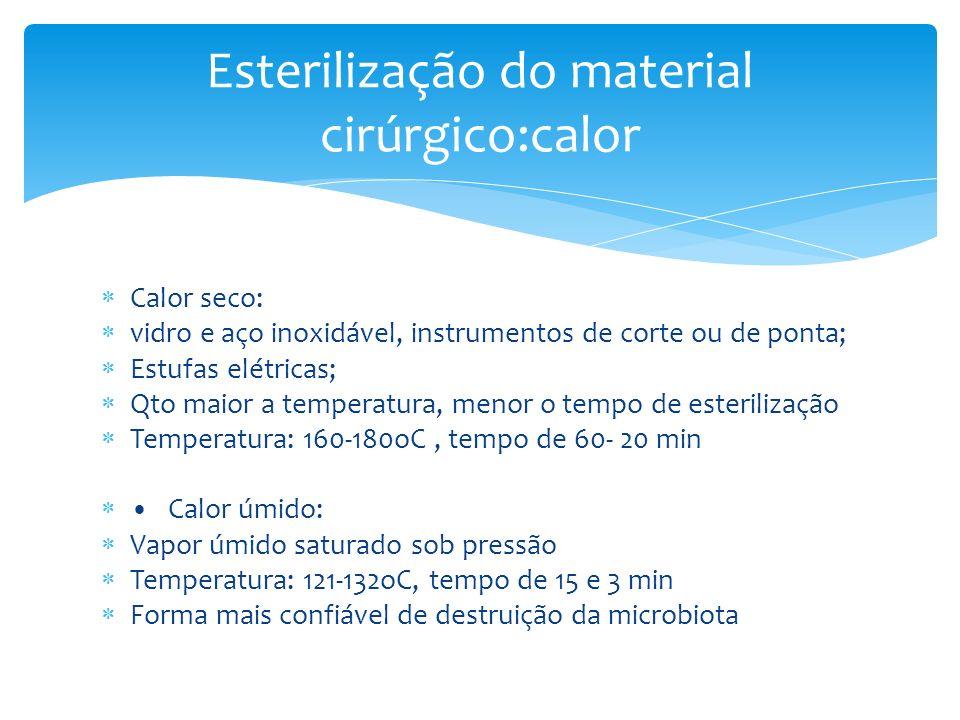 Calor seco: vidro e aço inoxidável, instrumentos de corte ou de ponta; Estufas elétricas; Qto maior a temperatura, menor o tempo de esterilização Temp