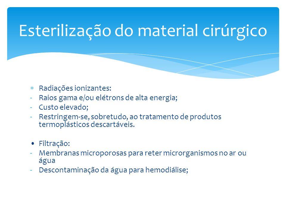 Radiações ionizantes: -Raios gama e/ou elétrons de alta energia; -Custo elevado; -Restringem-se, sobretudo, ao tratamento de produtos termoplásticos d