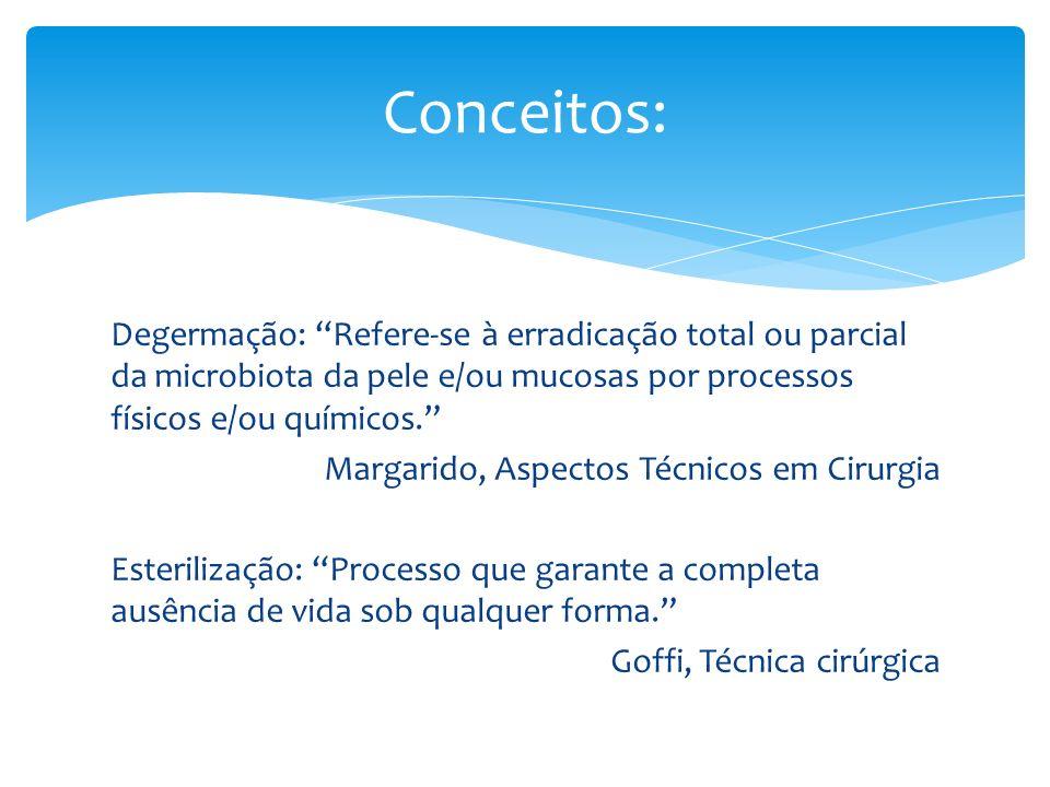 Degermação: Refere-se à erradicação total ou parcial da microbiota da pele e/ou mucosas por processos físicos e/ou químicos. Margarido, Aspectos Técni