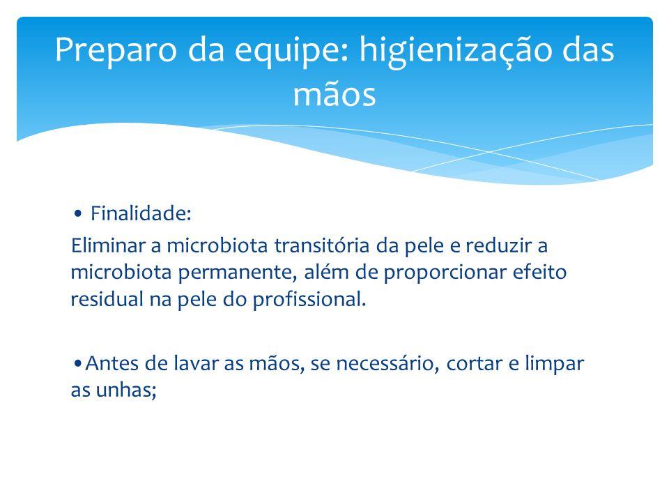 Finalidade: Eliminar a microbiota transitória da pele e reduzir a microbiota permanente, além de proporcionar efeito residual na pele do profissional.